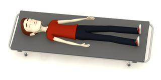 Cartoon man on stretcher Royalty Free Stock Images