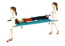 Cartoon man on stretcher with nurses Stock Photo