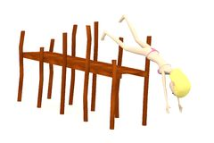 Cartoon swimmer girl with landing stage Stock Photo