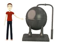 Cartoonman with industrial element Royalty Free Stock Photos