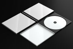 CD DVD Disc plastic box mockup. Perspective view. 3d render of a cd dvd compact disc plastic box mockup on black background. Perspective view Royalty Free Stock Image