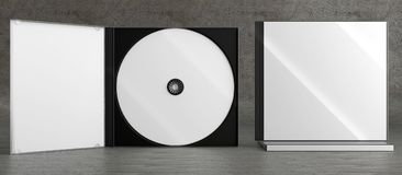 CD DVD Disc plastic box mockup. Front view. 3d render of a cd dvd compact disc plastic box mockup on concrete background. Front view Royalty Free Stock Photos