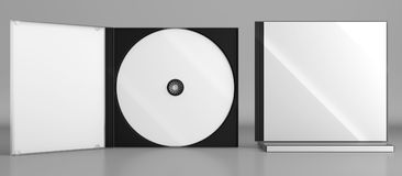 CD DVD Disc plastic box mockup. Front view. 3d render of a cd dvd compact disc plastic box mockup on grey background. Front view Royalty Free Stock Images