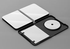 CD DVD Disc plastic box mockup. Perspective view. 3d render of a cd dvd compact disc plastic box mockup on grey background. Perspective view Stock Images