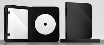CD DVD Disc plastic box mockup. Front view. 3d render of a cd dvd compact disc plastic box mockup on white background. Front view Stock Images