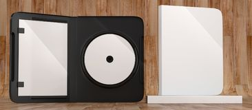 CD DVD Disc plastic box mockup. Front view. 3d render of a cd dvd compact disc plastic box mockup on wood background. Front view Royalty Free Stock Images