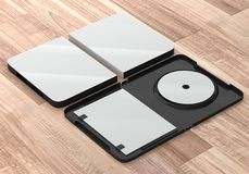 CD DVD Disc plastic box mockup. Perspective view. 3d render of a cd dvd compact disc plastic box mockup on wooden background. Perspective view Stock Image