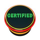 Certified button icon. 3d render. Certified button icon vector illustration
