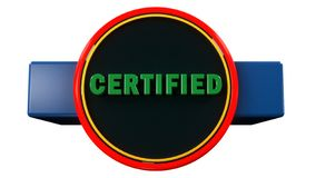 Certified button icon. 3d render. Certified button icon stock photo