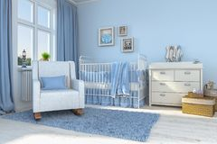 3d render of a children`s room - boy - baby. 3d render of a children`s room with bed and toys - boy - baby Stock Images