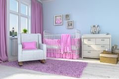 3d render of a children`s room - girl - baby. 3d render of a children`s room with bed and toys - girl - baby Royalty Free Stock Photography