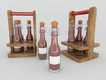 3D render of Chilli sauce in glass bottles with labels on white background Stock Photography