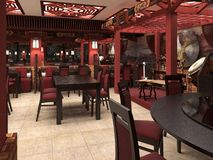 3d render of a Chinese restaurant interior. Dezigne Royalty Free Stock Image