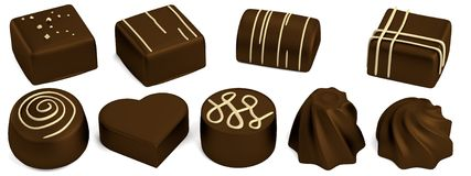 3d render of chocolate candies Stock Photos