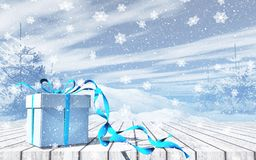 3D Christmas background with gift on wooden table against snowy. 3D render of a Christmas background with gift on wooden table against snowy landscape royalty free illustration