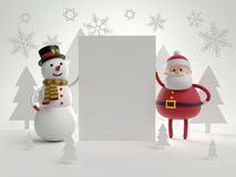 3d render, Christmas characters, Snowman and Santa Claus holding Stock Image