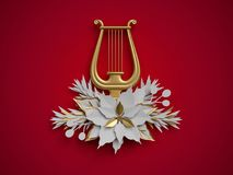 3d render, Christmas floral decoration, harp, musical instrument Royalty Free Stock Images