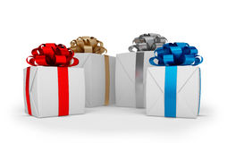 3d render - christmas gift boxes with colorful ribbons. 3d render - White christmas gift boxes with colorful ribbons over white background Royalty Free Stock Images