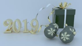 3D Render of Christmas and new year background. Render of 3D Christmas and new year background vector illustration