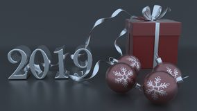 3D Render of Christmas and new year background. Render of 3D Christmas and new year background royalty free illustration