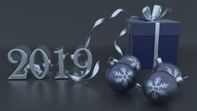 3D Render of Christmas and new year background. Render of 3D Christmas and new year background stock illustration
