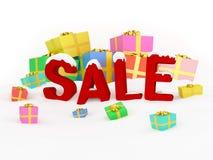 3D render Christmas sale. 3D render Christmas Concept of winter sale Stock Photos