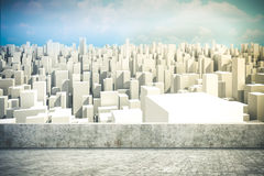 3d render of city skyline. And sky Royalty Free Stock Photo