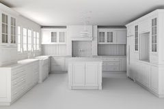 3d render of classic kitchen interior Stock Images