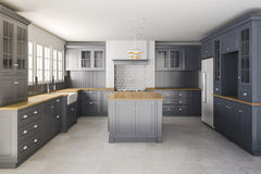 3d render of classic kitchen interior Stock Photo