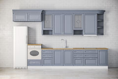 3d render of classic kitchen interior Royalty Free Stock Photography