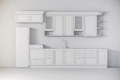 3d render of classic kitchen interior Stock Image
