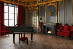 3d render of a classic room with grand piano. 3d render of a luxury, classic room with grand piano and fireplace Royalty Free Stock Photo