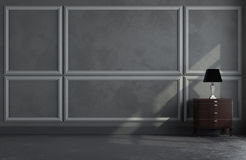 3d render of classic room. 3d render of classic gray room with moldings on wall Stock Photo