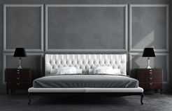3d render of classic room. 3d render of classic gray room with moldings on wall Royalty Free Stock Image
