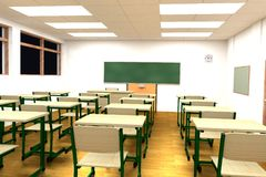 3d render of classroom Royalty Free Stock Photos