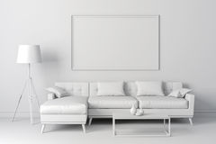 3d render of clean interior with couch and floor lamp Stock Image