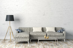 3d render of clean interior with couch and floor lamp. 3d render of beautiful clean interior with couch and floor lamp royalty free illustration