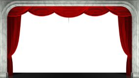 3D render clip of an opening red stage curtain. Animated mask added