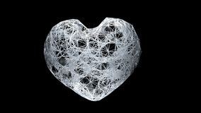 3D render close-up view of plexus white heart in a dark space royalty free stock image