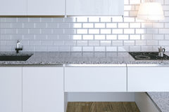3D Render Close Up White Contemporary Kitchen in White Interior.  Stock Photo