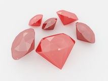 3D render of a cluster of rubies. On white background royalty free illustration