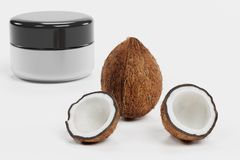 3D Render of Coconut with Creme. Realistic 3D Render of Coconut with Creme Stock Photography