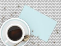 3d render of coffee with blank card. Lying on tablecloth Royalty Free Stock Photos
