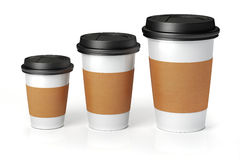 3d render - coffee cups. On white background Stock Photos