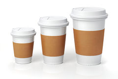 3d render - coffee cups. On white background Stock Images