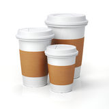 3d render - coffee cups. On white background Stock Image