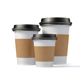 3d render - coffee cups. On white background Royalty Free Stock Photo