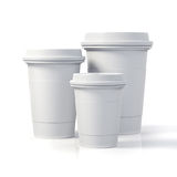 3d render - coffee cups. On white background Royalty Free Stock Image