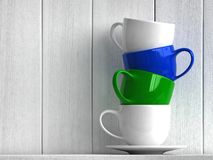 Coffee cups. 3d render of coffee cups on white wooden background royalty free illustration