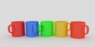 Set of color coffee cups on white. 3D render of 5 coffee mugs on white background stock illustration